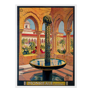 Monreale Italy Vintage Travel Advertising poster