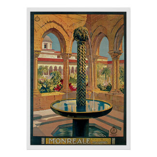 Monreale Italy Vintage Travel Poster