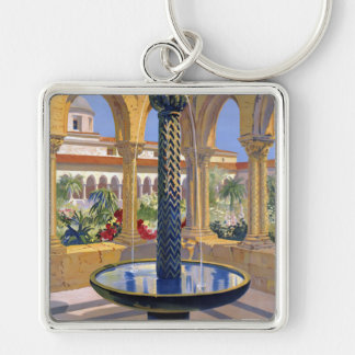 Monreale Palermo Italy Vintage Travel Poster Silver-Colored Square Keychain