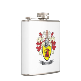 Monroe Family Crest Coat of Arms Hip Flask