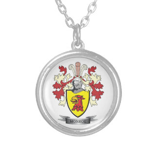 Monroe Family Crest Coat of Arms Silver Plated Necklace