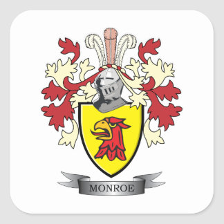 Monroe Family Crest Coat of Arms Square Sticker