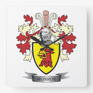 Monroe Family Crest Coat of Arms Square Wall Clock