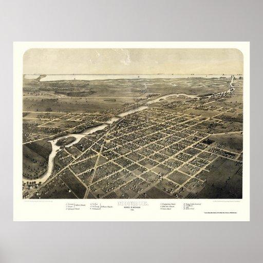 Monroe, mapa panorámico del MI - 1866 Póster