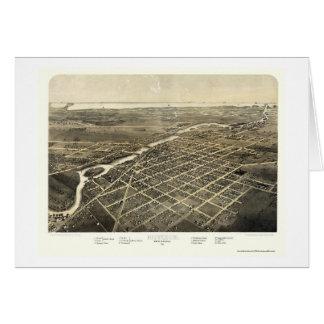 Monroe, MI Panoramic Map - 1866 Greeting Card