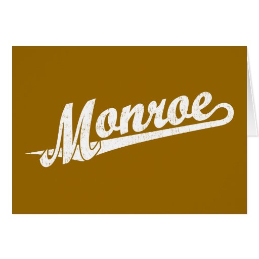 Monroe script logo in white distressed greeting cards