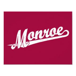 Monroe script logo in white distressed card