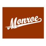 Monroe script logo in white postcard