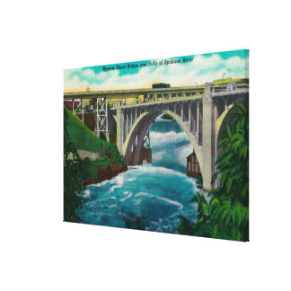 Monroe Street Bridge and Falls on Spokane River Canvas Print