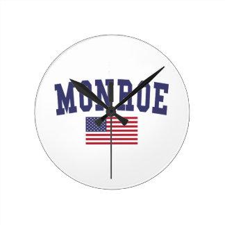 Monroe US Flag Round Clock
