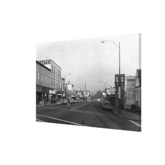 Monroe, WA - Downtown Street Scene Canvas Print