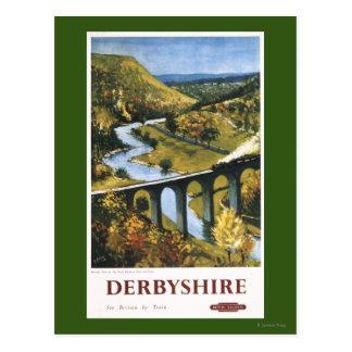 Monsal Dale, Train and Viaduct British Rail Postcard