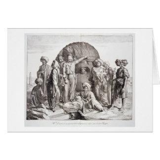 Monsieur Drovetti and his followers using a plumb Greeting Card