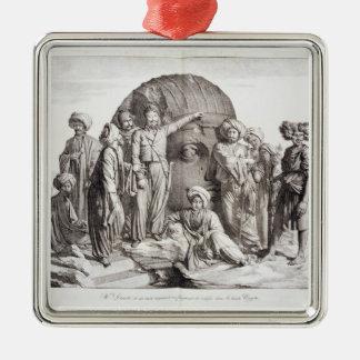 Monsieur Drovetti and his followers using a plumb Metal Ornament
