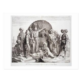 Monsieur Drovetti and his followers using a plumb Post Card