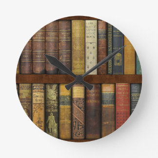 Monsieur Fancypantaloons' Instant Library Bookcase Round Clock