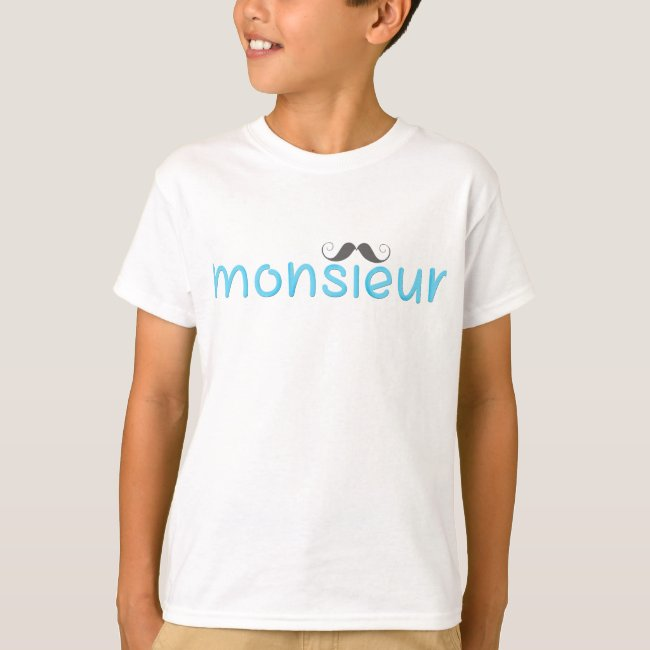 MONSIEUR - FUN TEXT - BLUE - Kids T-Shirt