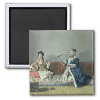 Monsieur Levett and Mademoiselle Helene 2 Inch Square Magnet