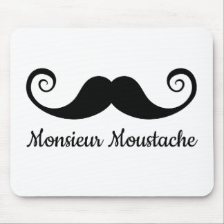 Monsieur Mustache design with curly moustache Mouse Pad