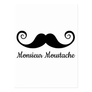 Monsieur Mustache design with curly moustache Post Card