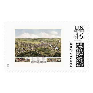Monson MA Panoramic Map - 1879 Postage Stamps