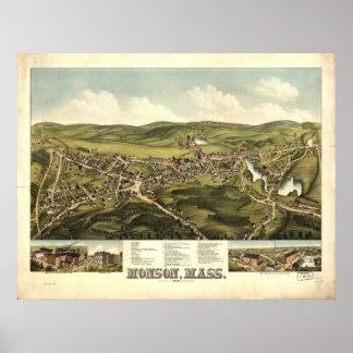 Monson Massachusetts 1879 Antique Panoramic Map Poster