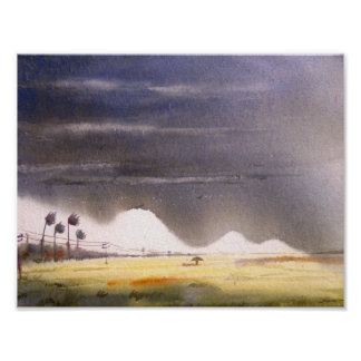 Monsoon Paddy Field-watercolor painting Poster