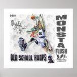 Monsta Flush Dinosaur Basketball Posters