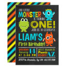 Cookie monster birthday card zazzle monster 1st birthday party invitation bookmarktalkfo Choice Image