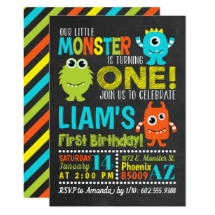 1st birthday invitations zazzle monster 1st birthday party invitation stopboris Gallery