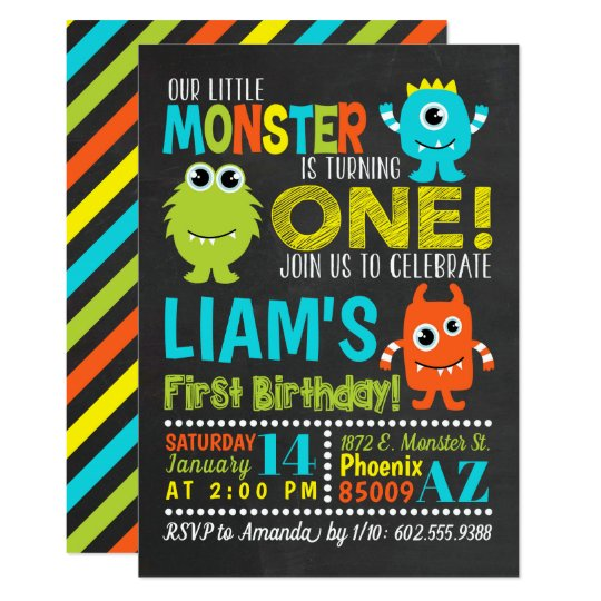 monster 1st birthday party invitation zazzle com