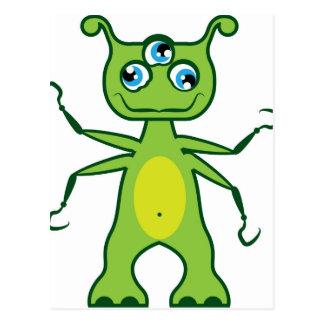 Monster 3 eye postcard