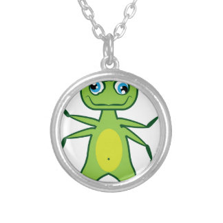 Monster 3 eye silver plated necklace
