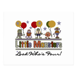 Monster 4th Birthday Tshirts and Gifts Postcard