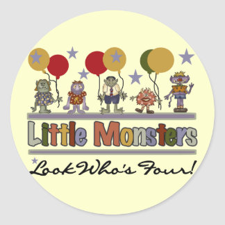 Monster 4th Birthday Tshirts and Gifts Classic Round Sticker