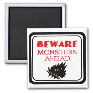 monster ahead 2 inch square magnet