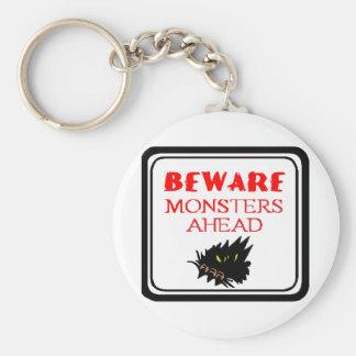 monster ahead basic round button keychain