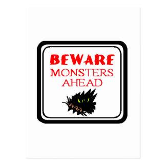 monster ahead postcard