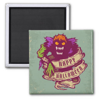 Monster and old ribbon for Halloween 2 Inch Square Magnet