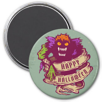 Monster and old ribbon for Halloween 3 Inch Round Magnet