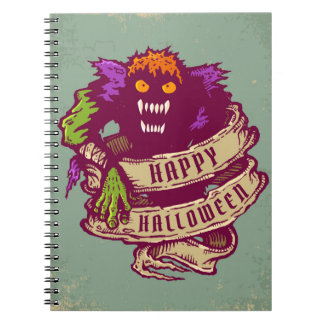 Monster and old ribbon for Halloween Spiral Notebook