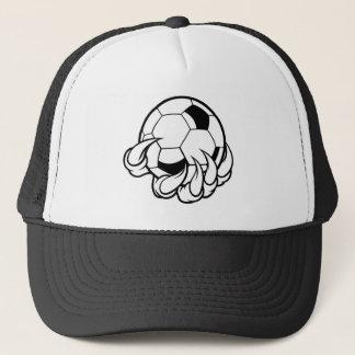 Monster animal claw holding Soccer Football Ball Trucker Hat
