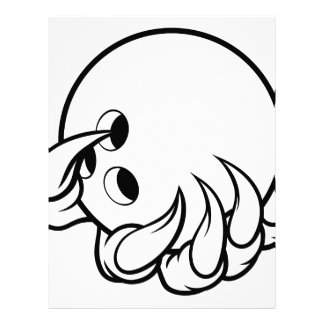 Monster animal claw holding Ten Pin Bowling Ball Letterhead