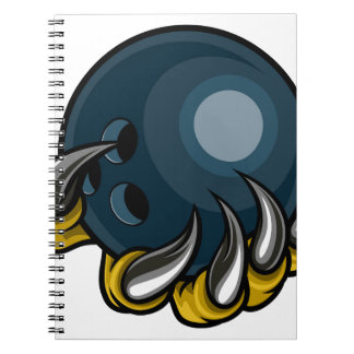 Monster animal claw holding Ten Pin Bowling Ball Notebook