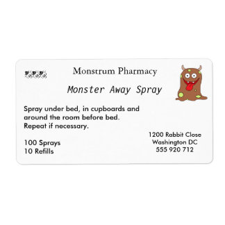 Monster Away Spray Labels Large