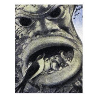 Monster & Baby Birds - Art Nouveau Postcard