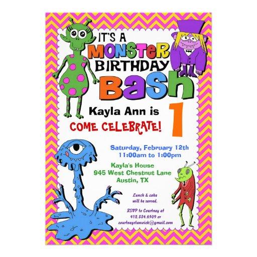 Monster Bash Birthday Party Invitation - Pink