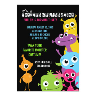 "Monster Bash Birthday Party Invitations 5"" X 7"" Invitation Card"