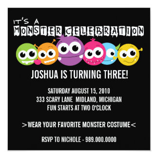 "Monster Bash Birthday Party Invitations 5.25"" Square Invitation Card"