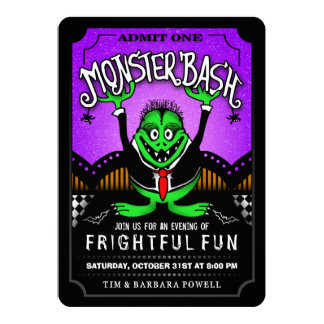 Monster Bash Fun Halloween Party Invitation